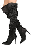 Akira165 Black Satin Women's Boot - Wholesale Fashion Shoes