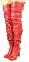 Madeline234 Red Pu Over the Knee Stacked Heel Boot - Wholesale Fashion Shoes