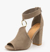 Alona36 Taupe Suede Peep Toe Gold Ring Rear Zip Heel - Wholesale Fashion Shoes