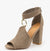 Alona36 Taupe Suede Peep Toe Gold Ring Rear Zip Heel