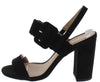 Alona54x Black Buckle Strap Open Toe Slingback Block Heel - Wholesale Fashion Shoes