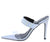 Amanda8 Silver Hologram Pointed Open Toe Mule Stiletto Heel