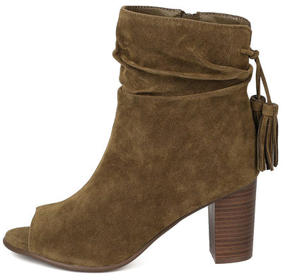 Amber34 Olive Open Toe Slouch Chunky Stacked Heel Ankle Boot - Wholesale Fashion Shoes