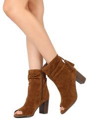 AMBER34 TAN OPEN TOE SLOUCH CHUNKY STACKED HEEL ANKLE BOOT - Wholesale Fashion Shoes