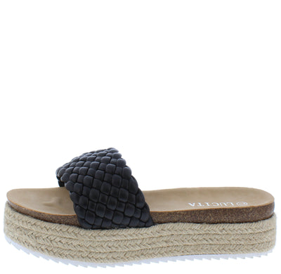 Amy01 Black Woven Open Toe Espadrille Slide Sandal - Wholesale Fashion Shoes