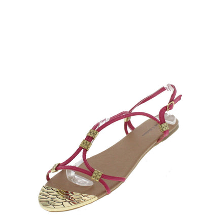 Andrew01 Magenta Strappy Gold Toe Sandal - Wholesale Fashion Shoes