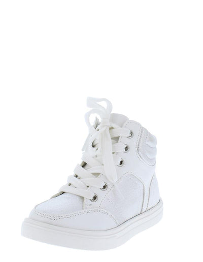 Andy13 White Metallic Lace Up Ankle High Sneaker Kids Flat - Wholesale Fashion Shoes