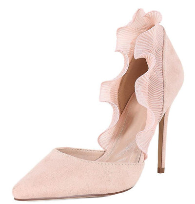 Clara213 Nude Pointed Toe Sheer Ruffle D'orsay Pump Heel - Wholesale Fashion Shoes