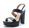 Arch09a Black Lizard Dual Strap Slingback Platform Sandal - Wholesale Fashion Shoes