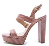 Arch09a Mocha Lizard Dual Strap Slingback Platform Sandal - Wholesale Fashion Shoes