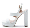 Arch09a White Lizard Dual Strap Slingback Platform Sandal - Wholesale Fashion Shoes