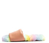 Archer710 Soft Blush Faux Fur Flat Slide Sandal - Wholesale Fashion Shoes