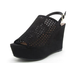 ARDOR113 BLACK SUEDE PU PERFORATED SLING BACK WEDGE - Wholesale Fashion Shoes