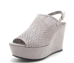 ARDOR113 LIGHT GREY SUEDE PU PERFORATED SLING BACK WEDGE - Wholesale Fashion Shoes