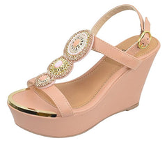ARDOR116 BLUSH GOLD METALLIC BEADED SLING BACK WEDGE - Wholesale Fashion Shoes
