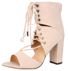 MIA NUDE OPEN TOE LACE UP CHUNKY HEEL - Wholesale Fashion Shoes