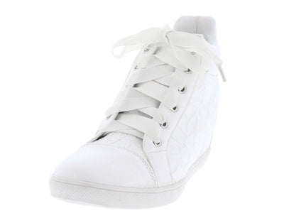 Asasa17 White Multi Lace Texture Hidden Wedge High Top Boot - Wholesale Fashion Shoes