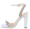 Ashlyn3 Hologram Studded Open Toe Ankle Strap Block Heel - Wholesale Fashion Shoes