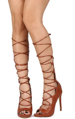 Serenity Cognac Peep Toe Lace Up Wrap Stiletto Heel - Wholesale Fashion Shoes