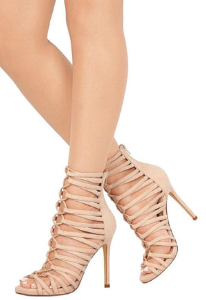 a855ff6f0 Leo046 Nude Open Toe Strappy Ghillie Lace Up Stiletto Heel - Wholesale  Fashion Shoes