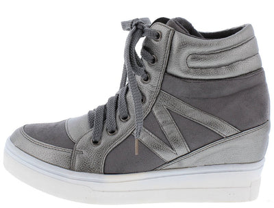 Asuson2 Grey Suede Dual Texture High Top Wedge Boot - Wholesale Fashion Shoes