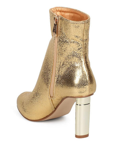Athena10 Gold Almond Toe Block Heel Ankle Boot - Wholesale Fashion Shoes