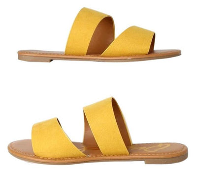 Athena1389x Yellow Suede Pu Women's Sandal - Wholesale Fashion Shoes