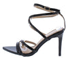 Ellis102 Black Strappy Pointed Open Toe Ankle Strap Heel - Wholesale Fashion Shoes