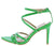 Ellis102 Green Strappy Pointed Open Toe Ankle Strap Heel