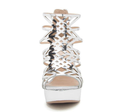 Avalon246 Silver Metallic Pu Peep Toe Laser Cut Platform Heel - Wholesale Fashion Shoes