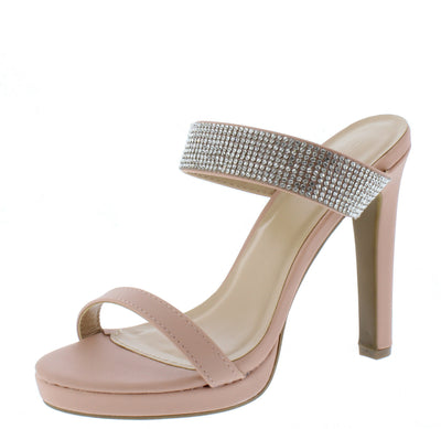 Ayala07 Nude Pu Open Toe Rhinestone Low Platform Heel - Wholesale Fashion Shoes