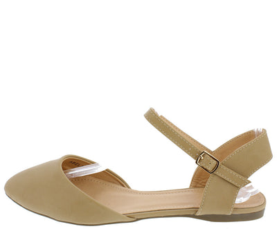 Abela2 Beige Pointed Toe Exposed Heel Single Strap D'orsay Ballet Flat - Wholesale Fashion Shoes