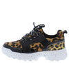 Above20 Black Two Tone Animal Lace Up Sneaker Flat - Wholesale Fashion Shoes