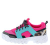 Above20 Fuchsia Green Two Tone Animal Lace Up Sneaker Flat - Wholesale Fashion Shoes