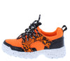 Above20k Neon Orange Two Tone Lace Up Kids Sneaker Flat - Wholesale Fashion Shoes