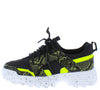 Above20 Lime Black Two Tone Animal Lace Up Sneaker Flat - Wholesale Fashion Shoes