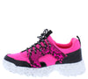 Above20 Neon Fuchsia Two Tone Animal Lace Up Sneaker Flat - Wholesale Fashion Shoes