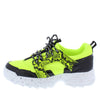 Above20 Neon Yellow Two Tone Animal Lace Up Sneaker Flat - Wholesale Fashion Shoes