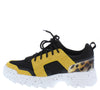 Above20 Yellow Black Two Tone Animal Lace Up Sneaker Flat - Wholesale Fashion Shoes