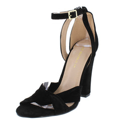 ABRERA BLACK CROSS STRAP VELVET WOMEN'S HEEL - Wholesale Fashion Shoes
