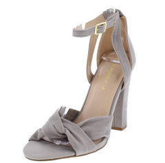 ABRERA GREY CROSS STRAP VELVET WOMEN'S HEEL - Wholesale Fashion Shoes
