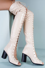 ABRIL1 NUDE OPEN TOE LACE UP PATENT OVER THE KNEE BOOT - Wholesale Fashion Shoes