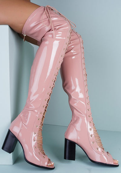 Abril1 Pink Open Toe Lace Up Patent Over the Knee Boot - Wholesale Fashion Shoes