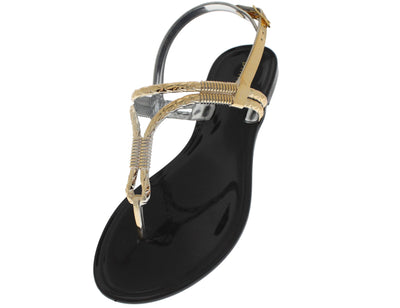 Accent01 Black Metallic Rope Jelly Sandal - Wholesale Fashion Shoes