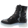 Ace Black Sparkle Lace Up Combat Boot - Wholesale Fashion Shoes