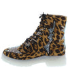 Ace Leopard Sparkle Lace Up Combat Boot - Wholesale Fashion Shoes
