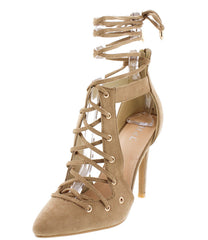 ACORN14 KHAKI POINTED TOE LACE UP CUT OUT HEEL - Wholesale Fashion Shoes
