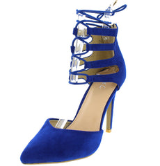 ACORN19 BLUE POINTED TOE D'ORSAY LACE UP CUT OUT HEEL - Wholesale Fashion Shoes