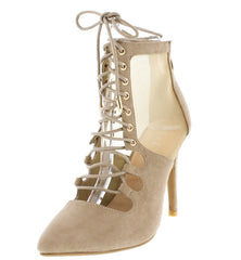 Acorn20 Beige Pointed Toe Lace Up Mesh Stiletto Heel - Wholesale Fashion Shoes