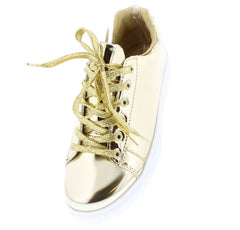 ACTION02 CHAMPAGNE MIRROR FINISH METALLIC SNEAKER FLAT - Wholesale Fashion Shoes